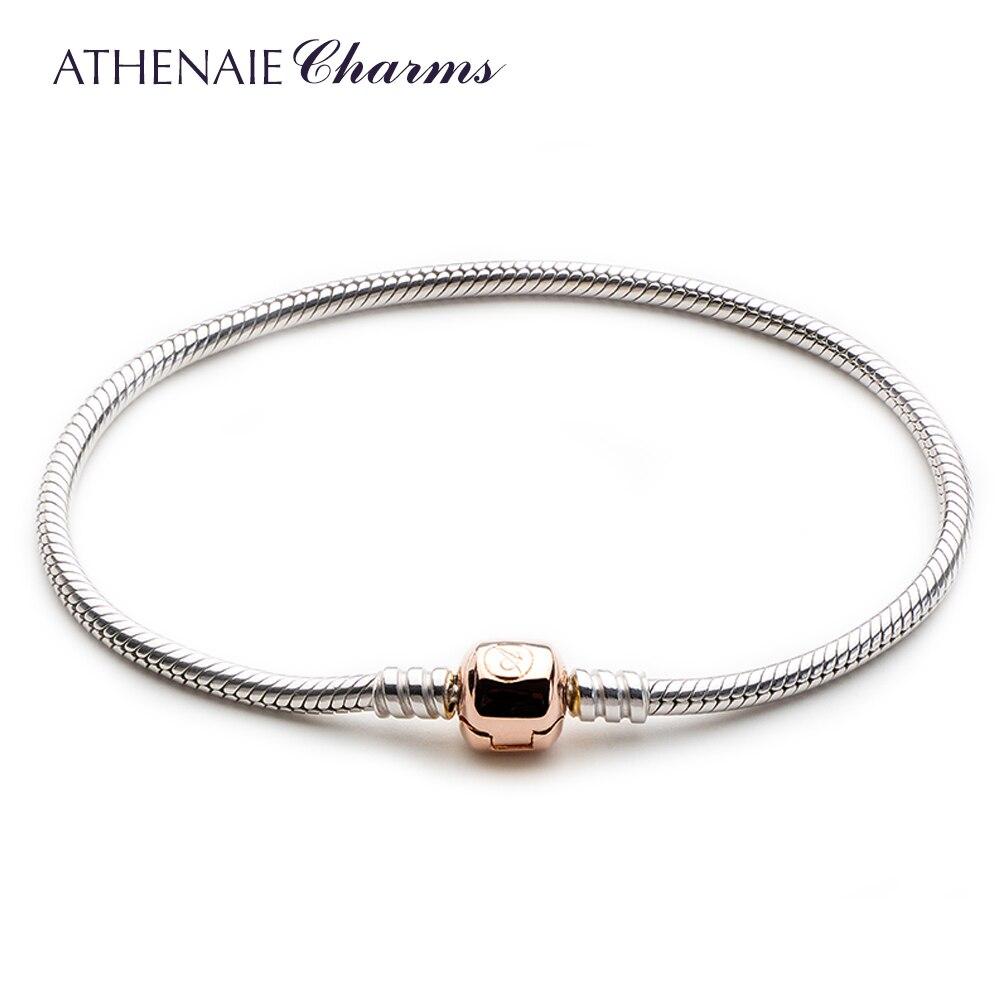 ATHENAIE 925 Prata Serpente Pulseira Corrente Com O Bloqueio é Rosa de Ouro Caber Todos Os Europeus Grânulos de Charme Jóias DIY