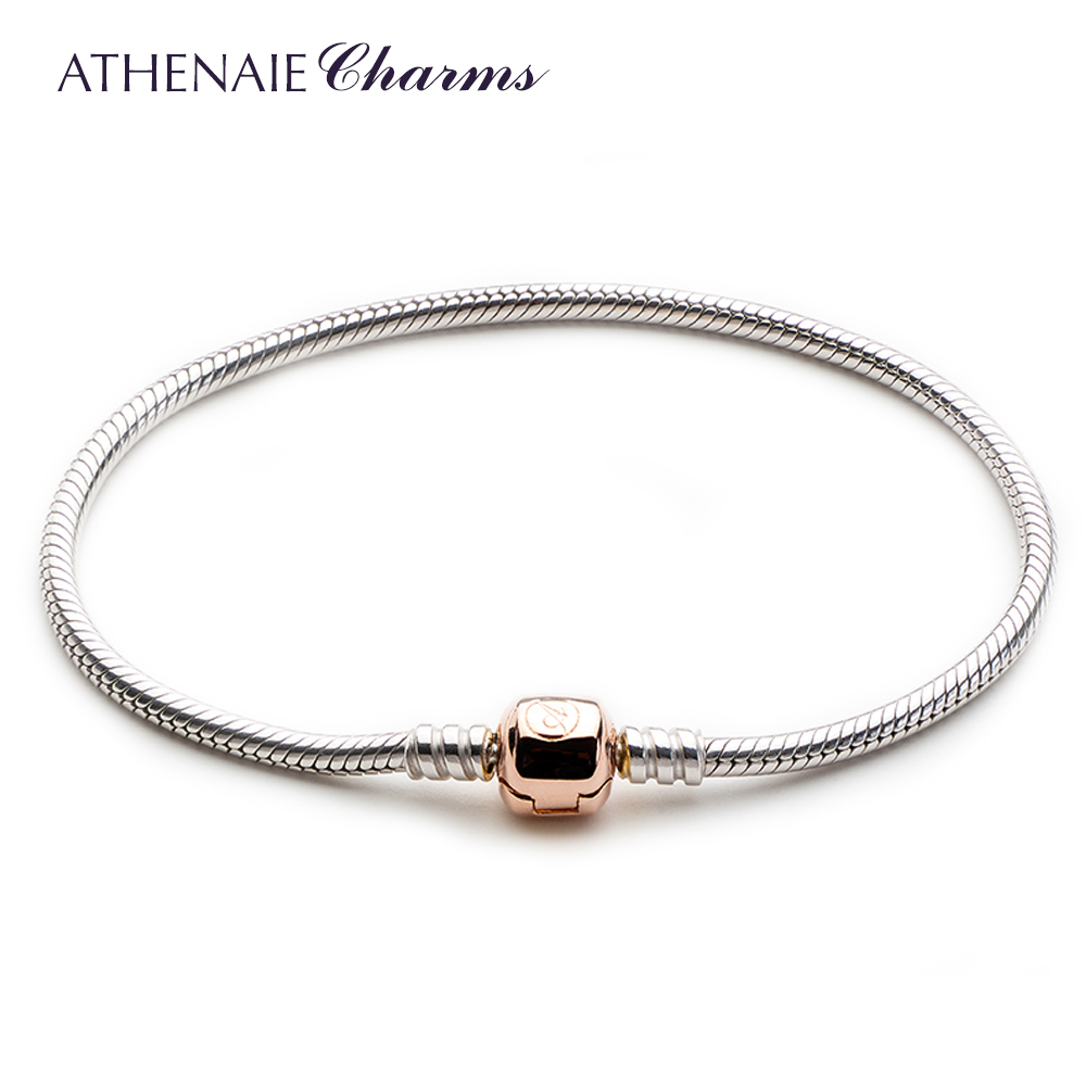 ATHENAIE 925 Sterling Silver Snake Chain Bracelet With The Lock is Rose Gold Fit All European Charm Beads DIY Jewelry