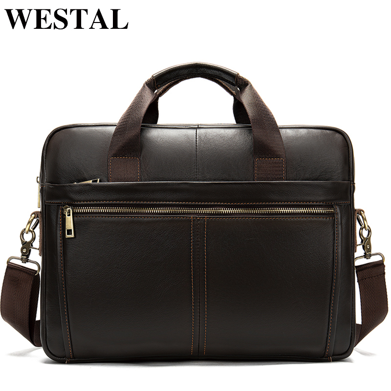 WESTAL Men Briefcases Bags Genuine Leather Messenger Bag Men Leather Office Bags For Men Laptop Bag Briefcases Male Totes 8572