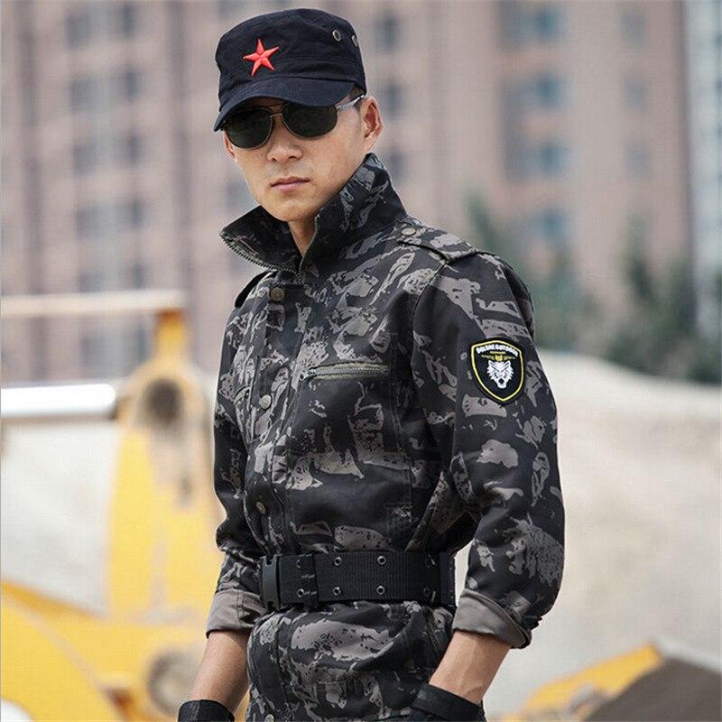 Noir Camouflage Militaire Armée Tactique Uniforme Étanche Hommes Vêtements de Chasse Veste + Pantalon Ensemble Costume Plus La Taille 4XL - 5