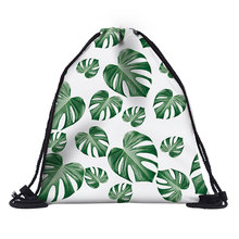BU logo Kids Backpack 3D leaf prints travel softback bag women mochila drawstring bag boys backpacks