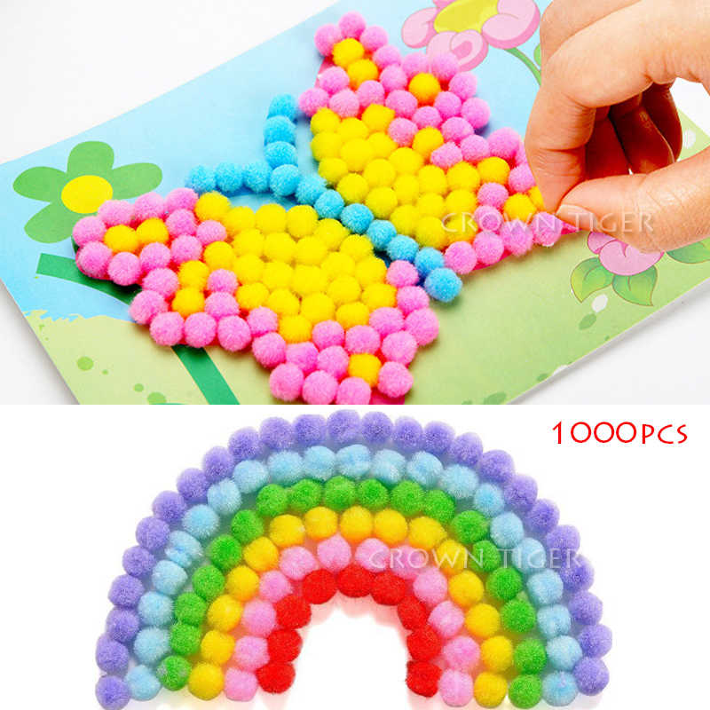 1000Pcs 10mm Soft Round Fluffy Craft PomPoms Ball Mixed Color Pom Poms kindergarten DIY Craft toy for children kids girls boys