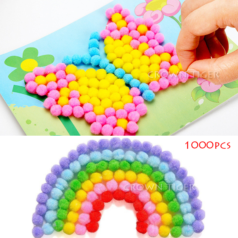 1000Pcs 10mm Soft Round Fluffy Craft PomPoms Ball Mixed Color Pom Poms kindergarten DIY Craft toy for children kids girls boys(China)