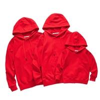 2019 New Blanket Sweatshirt Cotton Matching Family Clothes Mother Son Clothing Family Matching Outfits Red White Sweatshirt