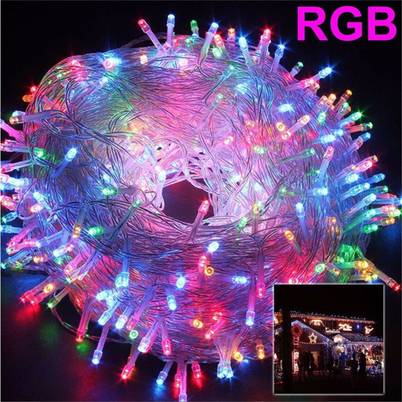 Hot Selling 8Colors 100M 600 LED Lights Party Lights Led Christmas Outdoor Decoration Party Twinkle String Lights 220V EU|LED String| |  - title=