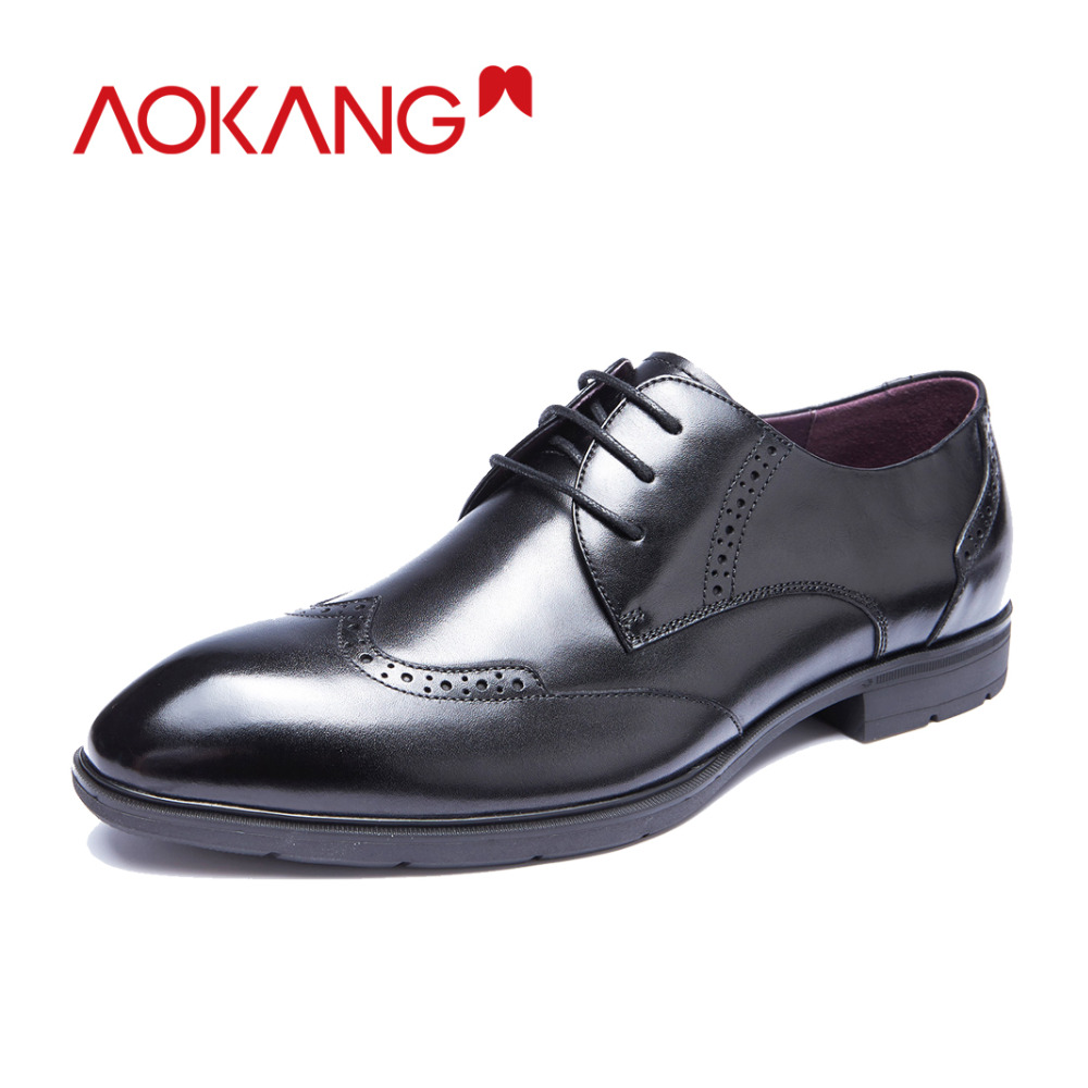 AOKANG  men dress shoes genuine leather shoes man wedding shoes brand brogue shoes high quality-in Formal Shoes from Shoes    1