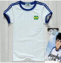 Tamanho da ásia! Camisas oliver atom equipe de japão frança, capitão tsubasa camisas, átomo futebol algodão branco roupas masculinas