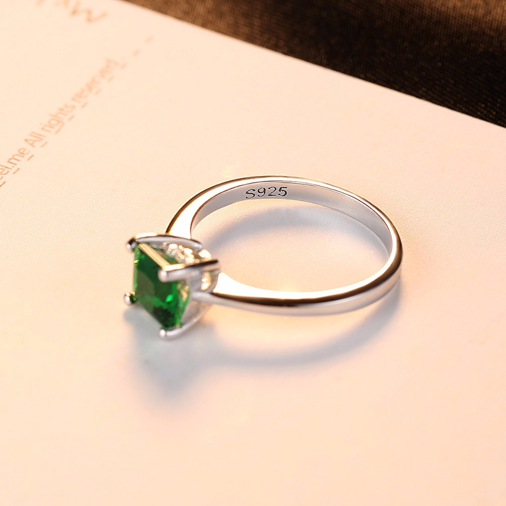 CZCITY Emerald Simple Female Zircon Stone Finger Ring 925 Sterling Silver Women