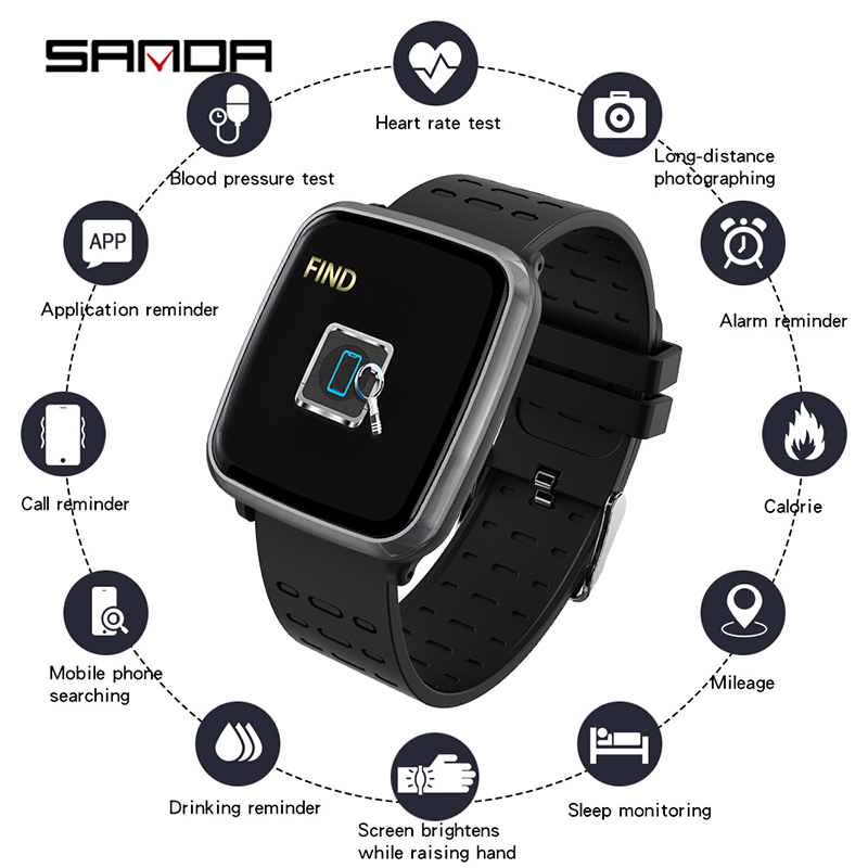 SANDA K02 Women Smart Life Assistant Call Reminder Digital Wristwatches Answer Call Heart Rate Monitor Blood Pressure Oxygen