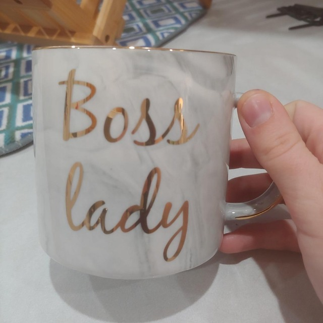 Gold Monogram Natural Marble Porcelain Coffee Mug Boss Lady Mug
