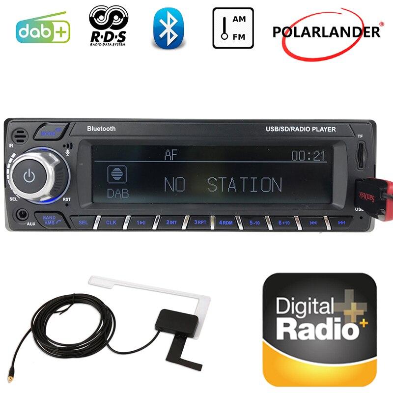 Voiture Bluetooth carte Machine numérique Audio diffusion 1 Din autoradio FM USB SD MP3/WMA RDS DAB + écran LCD 2018 nouveau mains libres