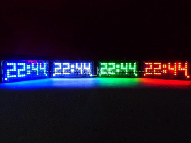 Dot Matrix DIY Kits digital clock electronic Alarm clock microcontroller time blue led thermometer Single - chip DC5v