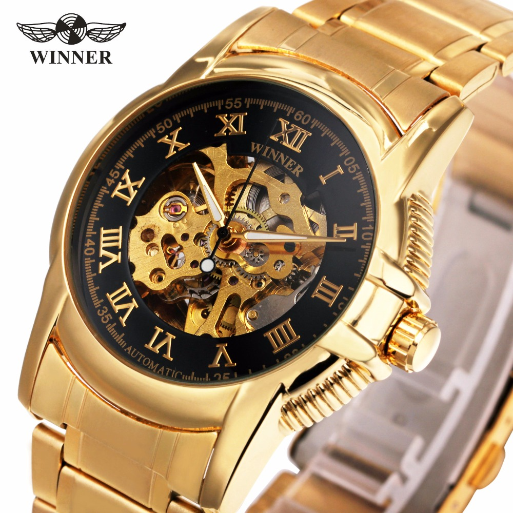 WINNER Men Automatic Mechanical Wristwatch Stainless-steel Strap Skeleton Dial Roman Number Top Brand Luxury Design Watch + BOX