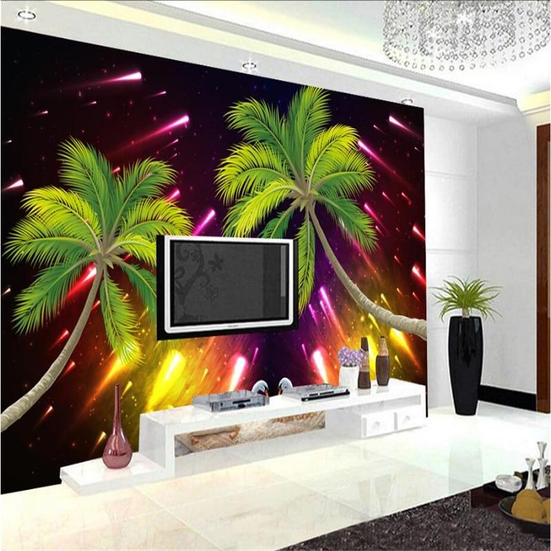 3d Wallpaper Mural Custom Meteor Shower Coconut Swan Photo Wallpaper Modern 3d Wallpaper for Living Room Bedroom Study Kitchen