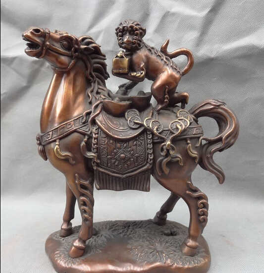 "SCY 573 + + 11 ""גלגל המזלות הסיני טהור ברונזה שנה לרכב על סוס פסל FengShui אחיזת קוף חותם"