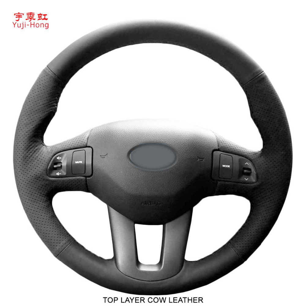 Yuji Hong Top Layer Genuine Cow Leather Car Steering Wheel Covers Case for KIA Sportage R