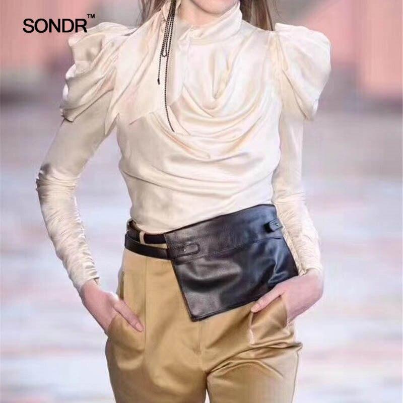 SONDR 2019 été Satin femmes chemises Blouse femmes bouffée à manches longues à lacets grandes tailles hauts femme mode vêtements Bowknot nouveau