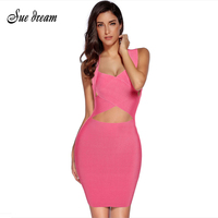 2017 Summer New Women Sleeveless Deep V Neck Bandage Dress Sexy Bodycon Hollow Out Celebrity Party