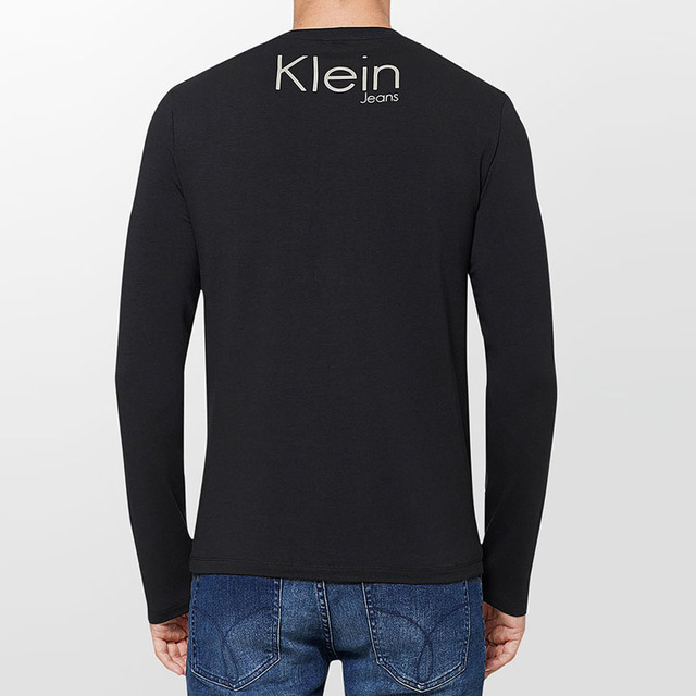 Calvin Klein Jeans / CK 2017 Fall New Long Sleeve T-Shirt Men's Round Neck Casual Slim Wear Men Popular Print Tops Tees 4ASK9309