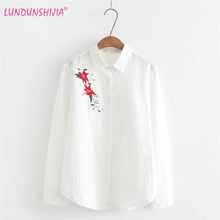 LUNDUNSHIJIA New 2018 Spring Women Cute Blouse Jacquard Flowers Embroidery Long Sleeve Blouse White Loose Shirts(China)