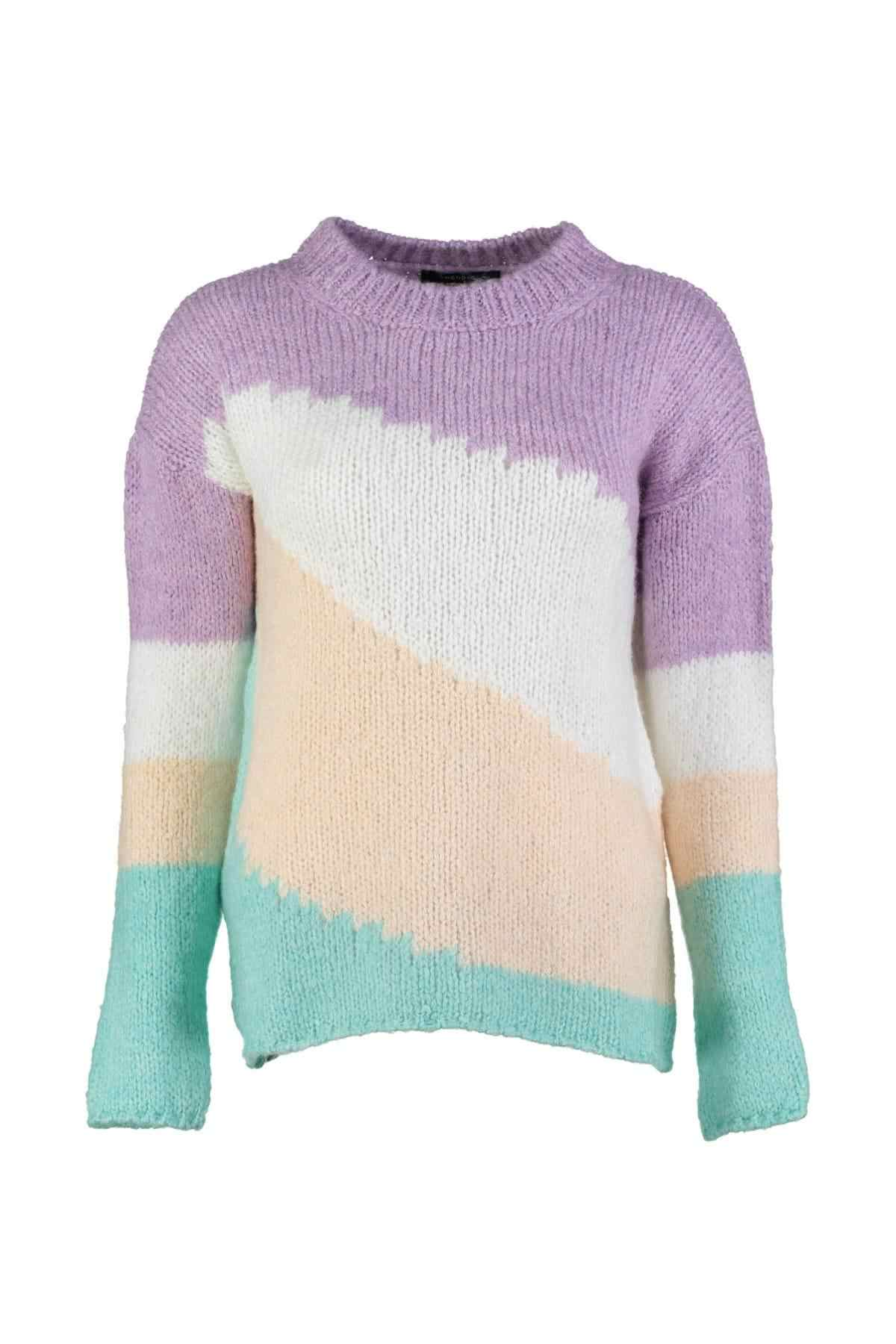 Trendyol Mavi Colorblock Sweater Sweater TWOAW20ZA0032