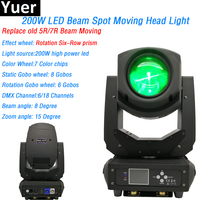 200W Led Beam Spot 2in1 Moving Head Light Six Row Prism 7 Colors 6 18 DMX