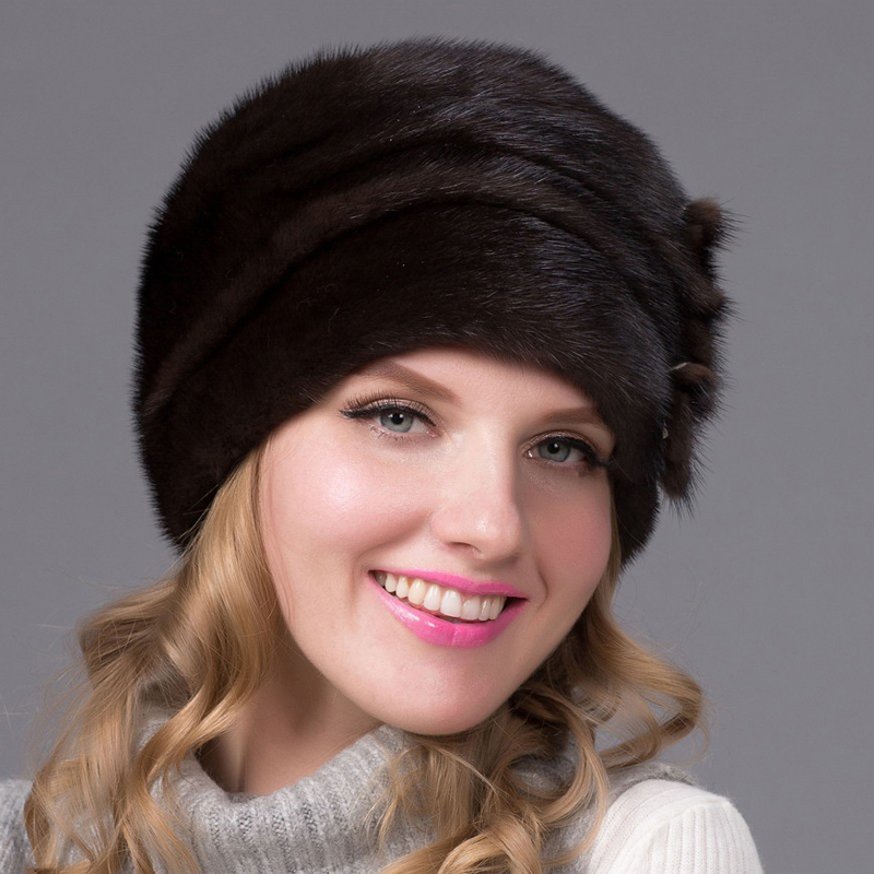 JKP winter women's natural mink leather grass hat leather fur hat flower style 2018 new warm high quality elegant lady hat