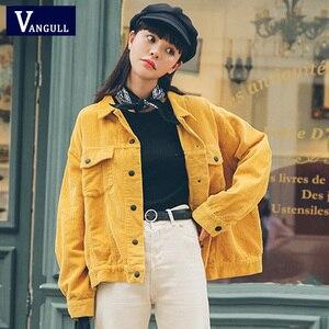 Женская Вельветовая куртка Vangull, желтая Свободная куртка-бомбер из хлопка с карманами, верхняя одежда для осени, 2019