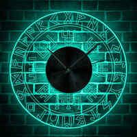 Compas Viking Vegvisir Design Vintage horloge murale illuminée boussole Runic couleur changeante applique murale Viking Protection symbole