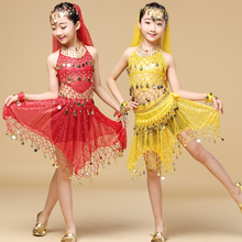 New Style Kids Belly Dance Costume Oriental Indian Costumes For 7 pcs (top skirt belt veil necklace 2 braclets)