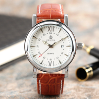 ORKINA New Analog Classical Wrist Watch Men Women Date Display Casual Elegant Brown Genuine Leather Dress