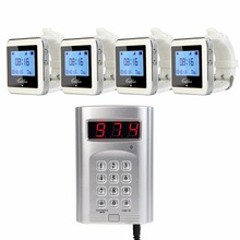 1pcs + 4pcs เครื่องรับสัญญาณ Pager ไร้สาย Coaster Pager Calling System Hotel Waiter ร้านอาหารระบบ