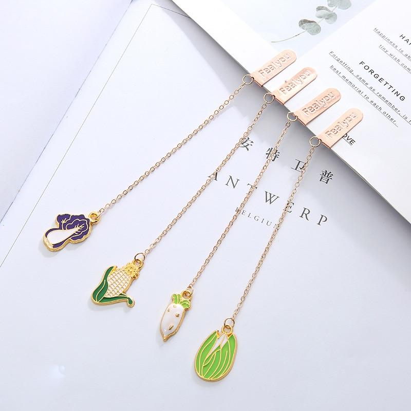 4 Pcs/Set Cute Radish Corn Vegetable Series Metal Pendant Bookmark Cartoon Book Holder Gift Stationery