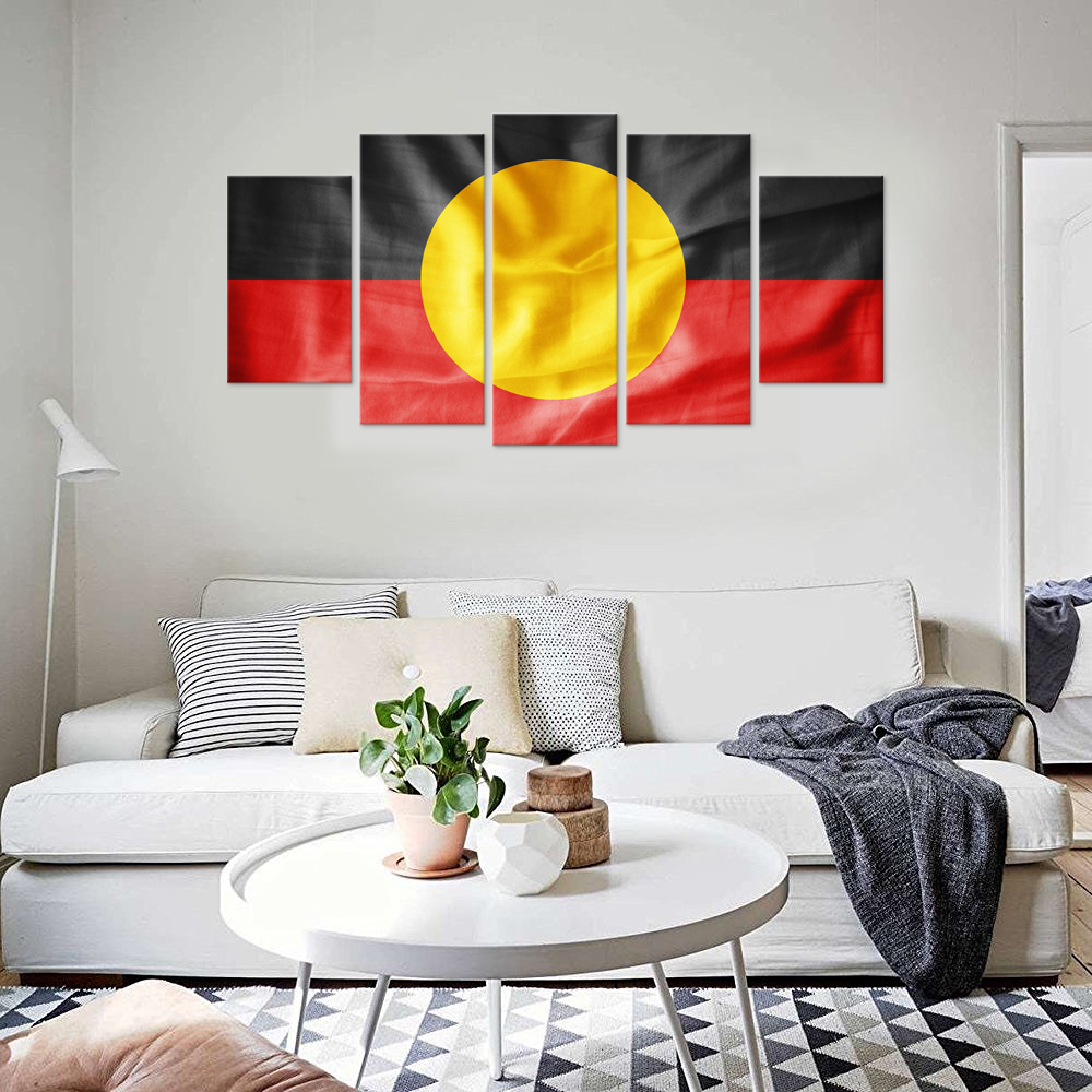 5 Pieces Australian Aboriginal Flag Painting for Living Room Wall ...