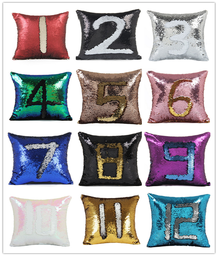 8.DIY Two Tone Glitter Sequins Throw Pillow Cases and Covers Color Changing Scale Home Cushion Sofa Pillowcase