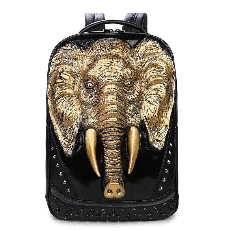 Sac Or Mode Cuir Voyage Rivet Cool Pouce Hommes Ordinateur Dos Argent Black Portable gold À 6 De Noir En Éléphant 15 Sacs silver Animal Eq5aRC5xw