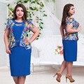 2017 nuevas mujeres de la marca summer dress plus size corto de lentejuelas Hembra de la manga Maxi 6XL Imprimir Flor Patchwork O Cuello de Lápiz vestidos