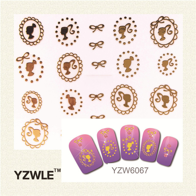 YZWLE 1 Sheet 2016 New Style Gold Girl Avatar Stiker Nail Sticker Nail Decal