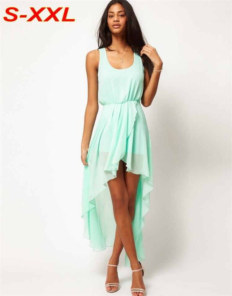 Menta Verde de Verano Vestido de Gasa Con Forro Vestido Asimétrico Ruffles Elást