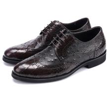 Serpentina Preto/Dark brown oxfords bico fino mens sapatos de casamento de couro genuíno pontas do dedo do pé sapatas de vestido dos homens sapatos busines