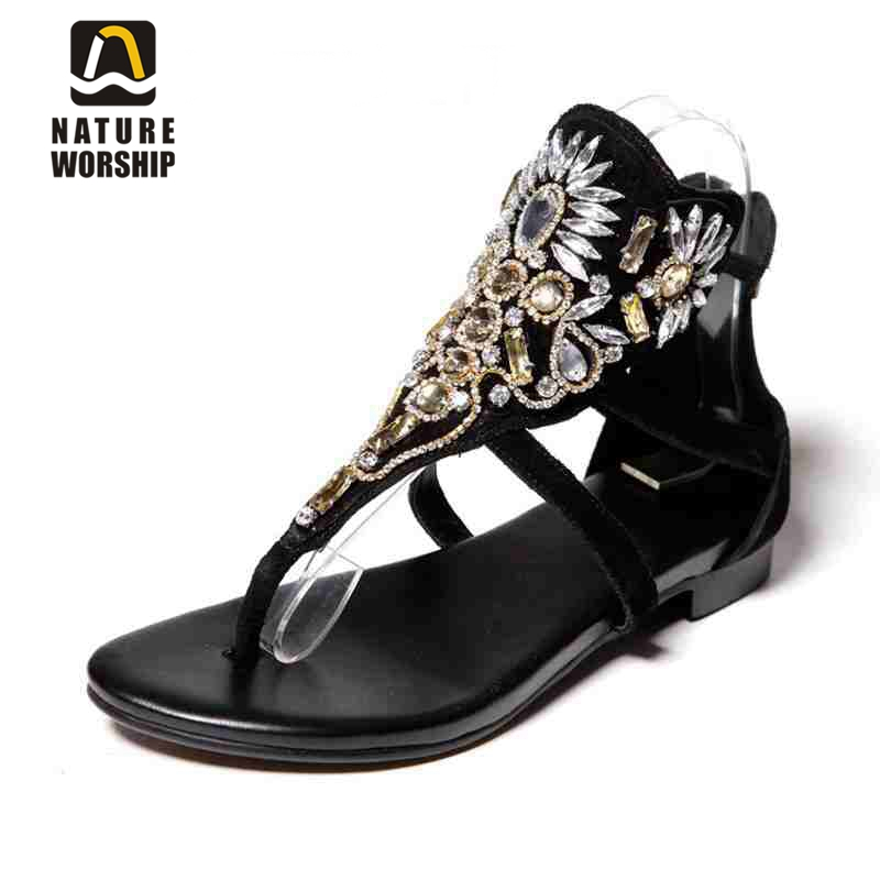 Hot women shoes fashion Sheepskin Gladiator shoes Rhinestone Retro style women sandals Crystal flat women beach summer shoes new style fashion women summer flower high waisted denim shorts jeans hot beach pants sexy fashion retro personality wolovey 25