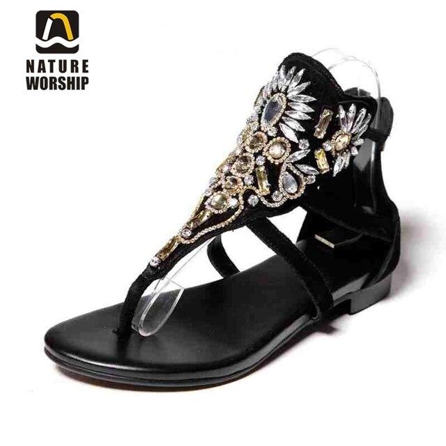 Hot women shoes fashion Sheepskin Gladiator shoes Rhinestone Retro style women sandals Crystal flat women beach summer shoes