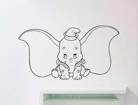 Dumbo Elefante Tatuajes de Pared Pegatina de Vinilo de Dibujos Animados Animal Home Kids Niña Niño Nursery Room Interior wall Art Decor Extraíble Mural
