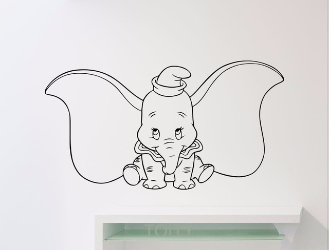 Dumbo Olifant Muurtattoo Cartoons Vinyl Sticker Dier Thuis Kids ...