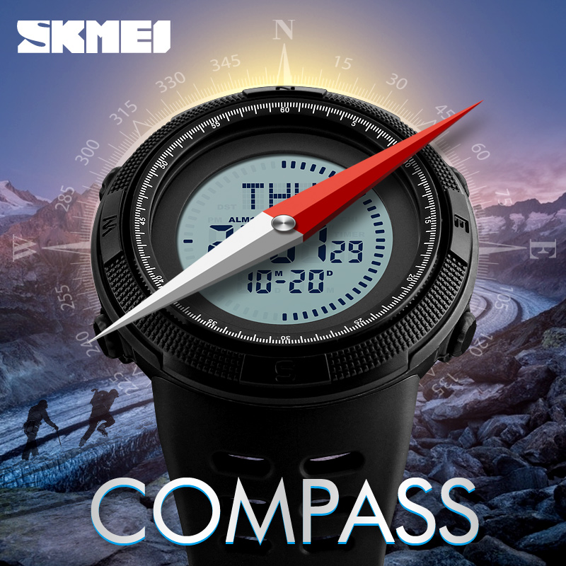 все цены на SKMEI Compass Military Sport Watch Men Top Brand Luxury Electronic LED Digital Wristwatches Male Clock For Man Relogio Masculino