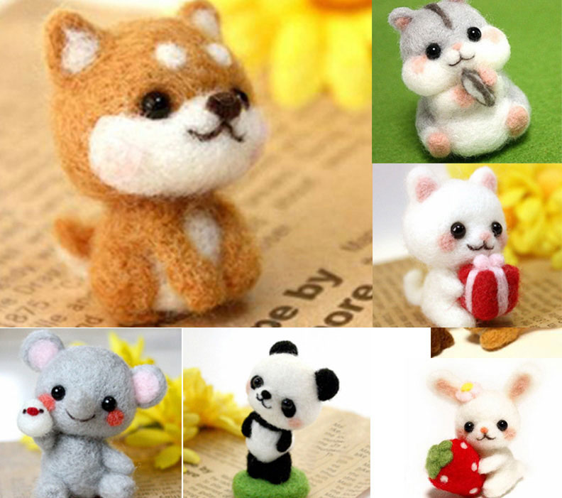 Handmade Pets Toy Doll Wool Felt Needle Poked Kitting DIY Cute Animal Dog Panda Rabbit Wool Felting Package Non-Finished