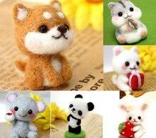 Wool Felt Needle Poked Kitting DIY Cute Animal Dog Panda Rabbit Wool Felting Package Non Finished Handmade Pets Toy Doll Decor
