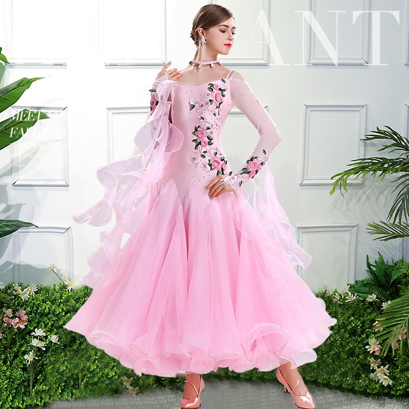 Pink Ballroom Dress Standard Plus Size Ballroom Dance Costume Red Tango Dress Viennese Waltz Dress Foxtrot Dance Dress Quickstep
