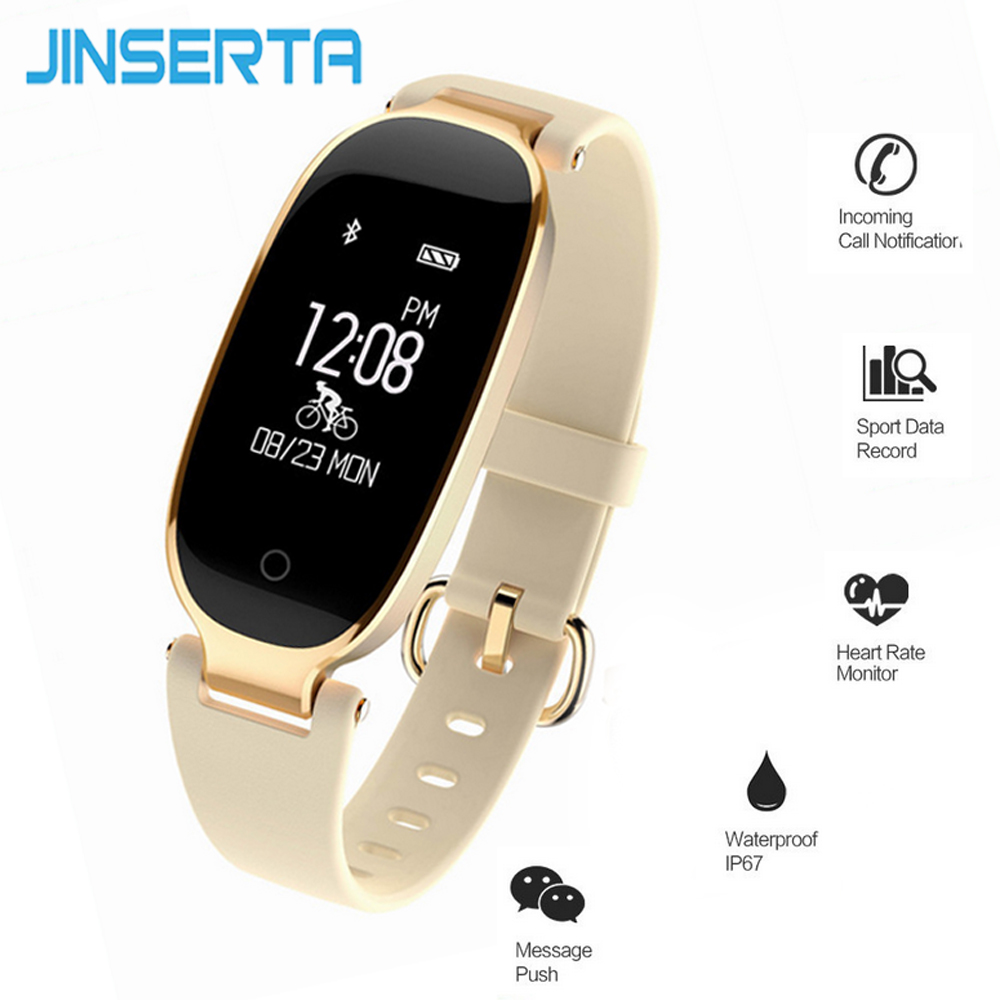 JINSERTA Bluetooth Waterproof Smartwatch Women Ladies Heart Rate Monitor Fitness Tracker Ladies Smart Watch For Android IOS 4pcs lot professional american dj led lighting led moving head light wash mini 7x12w rgbw dmx 7 12 channels