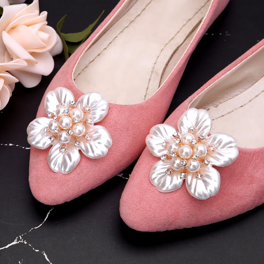 EYKOSI 2Pcs Flower Rhinestone Faux Pearl Embellishments Shoe Clips Cloth Patch Applique NewEYKOSI 2Pcs Flower Rhinestone Faux Pearl Embellishments Shoe Clips Cloth Patch Applique New